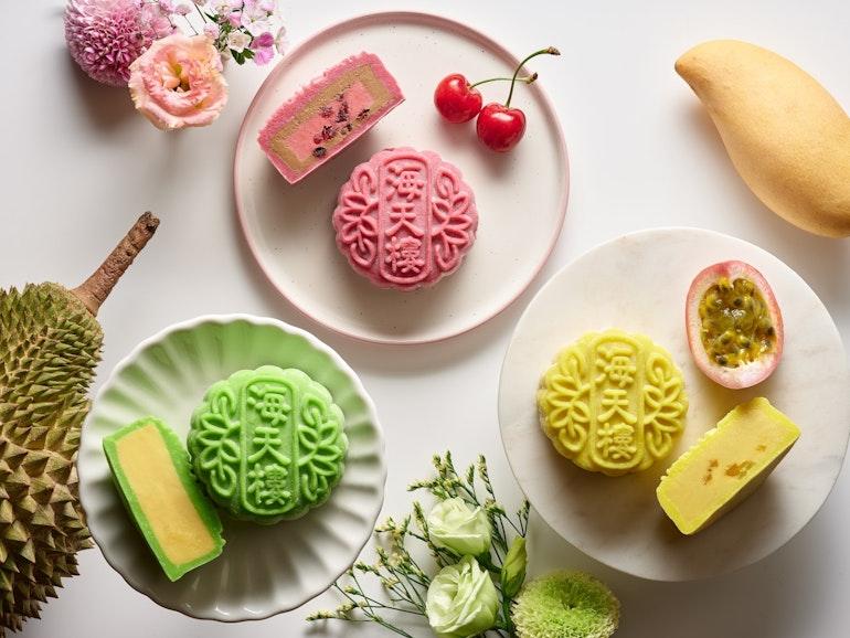 Earl Grey and Cherry Snowskin, Mao Shan Wang Durian Snowskin, Passionfruit and Mango Snowskin